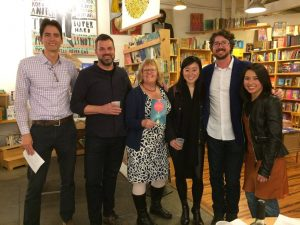 Six authors in a bookstore